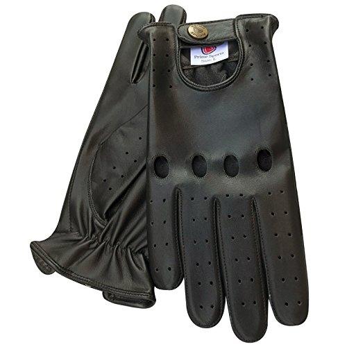 PRIME - Gants De Conduite - Sans Doublure - En Cuir Souple Véritable (502-N) - Noir Marron Brun - Noir, Large