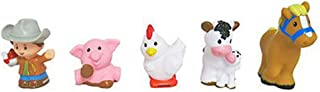Fisher-Price Replacement Parts Little People Farm Sets DWC31 CHJ51 - Includes 1 Boy Farmer with Cowboy Hat, 1 Pink Pig, 1 White and Black Cow, 1 Chicken and 1 Brown Horse