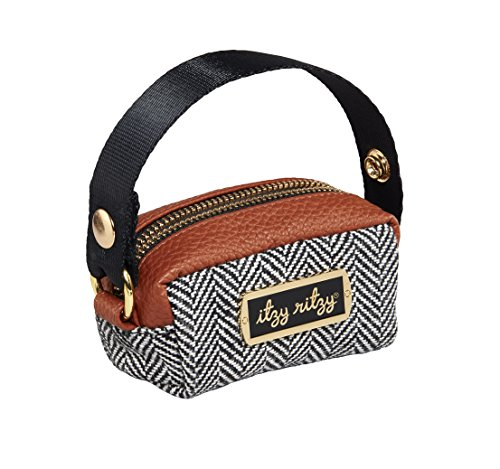 """Itzy Ritzy Pacifier Case with Adjustable Handle – Pacifier Pod Holds 2 Pacifiers and Can Be Worn as a Wristlet or Attached to a Diaper Bag or Purse; Measures 4.5"""" L x 2.25"""" W, Coffee and Cream"""