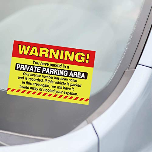 50 Private Parking Stickers, You Have Parked in A Private Parking Area, Reserved No Permit Area Violation Warning Notice Vehicle is Illegally Parked - Large Size 6 X 9 inches Photo #2
