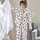 GenericBrands Pijamas PJ Set Otoño Algodón Conjunto de Pijamas de Dibujos Animados Mujeres Ropa de Dormir Suelta Manga Larga Top & Bottoms Ropa de Dormir-L_50-60Kg