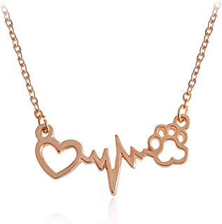 MIXIA Cute Animal Cat Dog Puppy Footprint Bracelet Love ECG Heart Heartbeat Paw Print Pendant Necklace