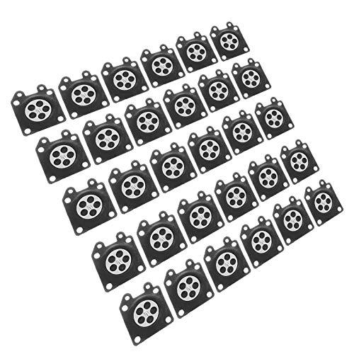 Junta de diafragma duradera de goma confiable, 30 piezas/juego de diafragma de carburador, para reparación de motosierra de piezas de carburador ZAMA 2500/3800 4500
