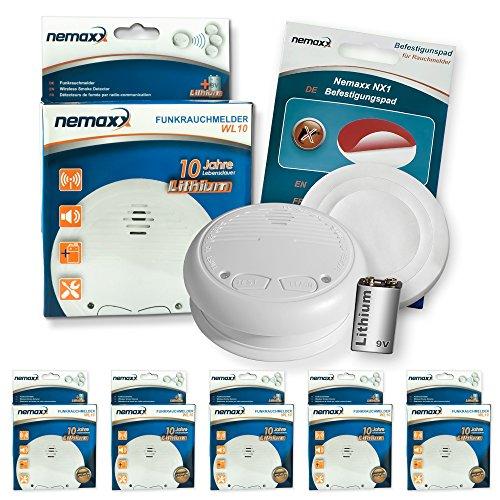 5X Nemaxx WL10 Funkrauchmelder - mit 10 Jahre Lithium Batterie Rauchmelder Feuermelder Set Funk koppelbar vernetzt - nach DIN EN 14604 + 5X NX1 Quickfix Befestigungspad