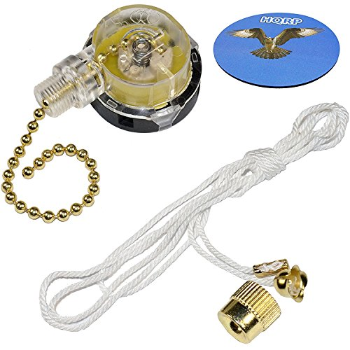 HQRP Switch 3-Speed Pull Chain Control Ceiling Fan compatible with Harbor Breeze Ceiling Fan + HQRP Coaster