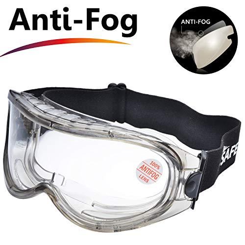 SAFEYEAR Schutzbrille Arbeitsbrille für Brillenträger - SG007 mit Seitenschutz und Rutschfesten Bügeln UV-Schutz mit Lüftung Gartenarbeit (Transparent)