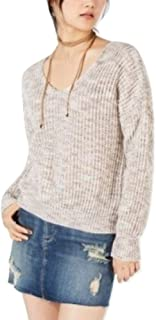 Juniors Twist-Back Marled Sweater Egret S