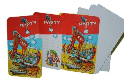 alles-meine.de GmbH 12 TLG. Set Baustelle Einladungskarten mit Umschlag Einladung Karte Karten