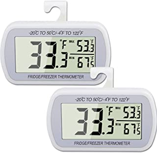 2 Pack Waterproof Digital Refrigerator Thermometer Large LCD, Freezer Room Thermometer with Magnetic Back, No Frills Easy to Read