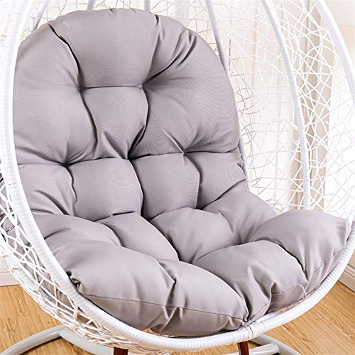 OA&WA Hanging Basket Chair Cushions, Large Seat Cushion Waterproof Hanging Egg Hammock Swing Chair Pads Soft Chair Back Solid Color (Color : Gray, Size : 125x95cm(49x37inch))