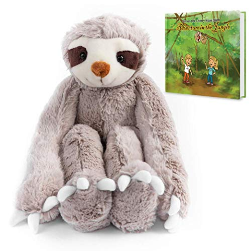 Stuffed Animal Sloth Toy Ultra Soft. with Velcro Hands. Perfect for Baby, Children, Kids, Adult,, Organic Material,Safe 20.5' Armspan, 15' Tall