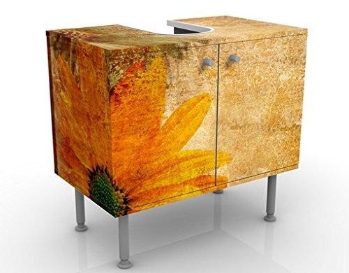 Apalis Waschbeckenunterschrank - Vintage Flowermix - Blumen Badschrank Orange Gelb Braun, Größe: 55cm x 60cm