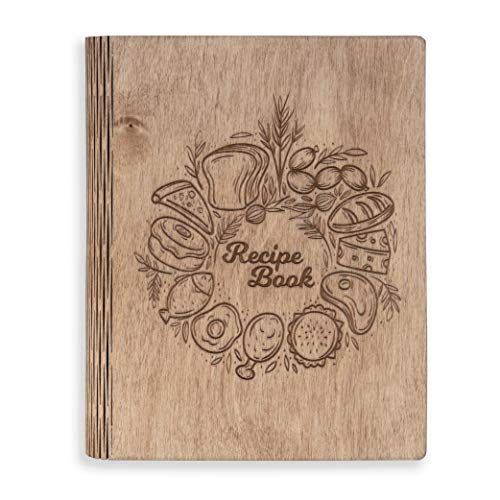A5 Wooden Blank Recipe Book to Write in (7.5 x 6 inch) - Cook Book with 80 Sheets for Handwritten Recipes - Hardcover Family Kitchen Journal and Recipe Keeper (Brown)