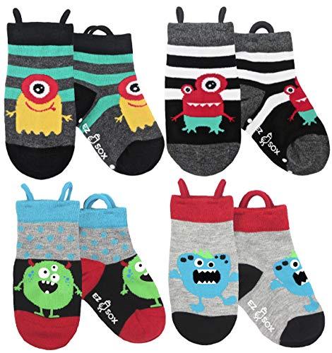 Toddler Socks Easy Pull Up Loops (Medium, Monsters)