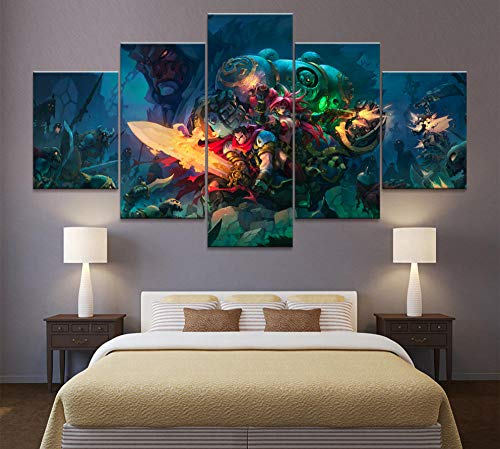 Decoración del hogar Imagen de lienzo modular 5 piezas Battle Chasers: Nightwar Game Paint Poster Home Wall Painting Canvas Wholesale (Sin marco)