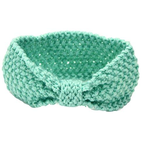 Tangbasi Haak Gebreide Baby Meisjes Hoofdbanden Infant Headdress Elastische Strik Haarband Eén maat Mint Groen