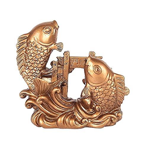JYKFJ Chińskie Feng Shui ryby statuetki ozdoby, karp żywiczny skaczący smok brama rzeźba rękodzieło, ręcznie rzeźbione figurki dekoracyjne