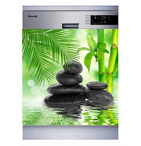 Sticker Cuisine Lave Vaisselle Galets Bambou 60x60cm SLV1096 (Fond Transparent)