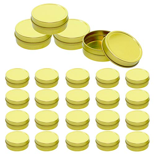 Mimi Pack 24 Pack Tins 8 oz Shallow Round Tins with Solid Slip Lids Empty Tin Containers Cosmetics Tins Party Favors Tins and Food Storage Containers (Gold)