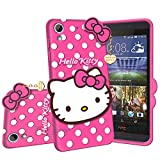 ponyta® hello kitty back cover case cover compatible with htc 626 - | 3d cute hello kitty | soft silicone rubber | girls favourite | with pendant compatible for htc 626 -pink cases for htc Apr, 2021
