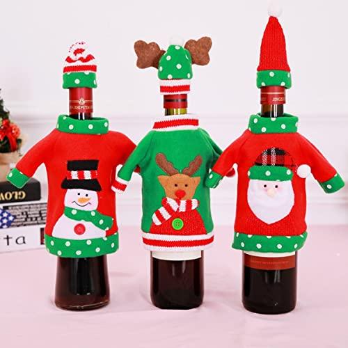 3 sets Cubierta de botella de vino de Navidad Santa Reindeeer Muñeco de nieve Cubierta de botella de vino Suéter de punto Vestido de botella de vino for decoraciones navideñas Suéter de Navidad Decora