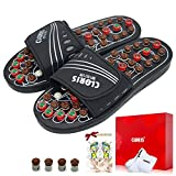 CLORIS Deep Tissue Circulation Massage Slippers with Jade Stones, Acupressure Sandals Reflexology Therapy Shoes Gift for Men Women with a Pair of Sock (M)