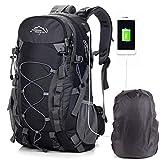 A AM SeaBlue Zaini da Escursionismo Outdoor Trekking Backpack USB Bag Multifunzione Water Resistant 40L Leggero Zaino Grande capacità per Donna Uomo Campeggio Viaggio Alpinismo Caccia (1-Nero)