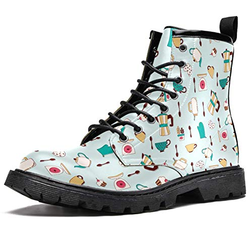 LORVIES Vintage Tea Element Cups Pattern Men's High Top Boots Lace Up Casual Leather Ankle Shoes