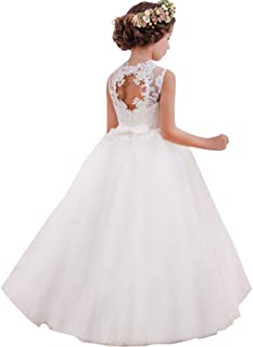 LZH Vestido de Niñas Cordón Princesa Vestidos de Novia
