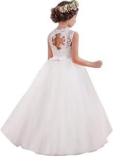 LZH Girls White Dress Wedding Princess Backless Lace Dresses