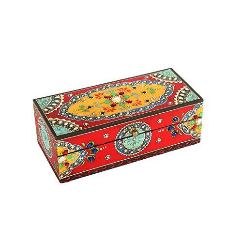 Casa Moro Orientalische Schmuckschatulle Asha handbemalte Schmucktruhe Schmuckdose aus Holz | Originelle Geschenk-Idee für die Partnerin Freundin Muttertag | RK10-30-B