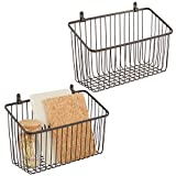 mDesign Portable Metal Farmhouse Wall Decor Angled Storage Organizer Basket Bin for Hanging in Entryway, Mudroom, Bedroom, Bathroom, Laundry Room - Wall Mount Hooks Included, Small - 2 Pack - Bronze