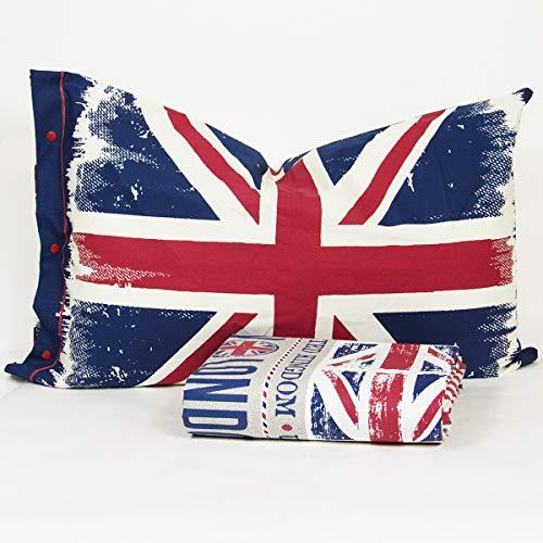 R.P. Juego de funda nórdica de puro algodón con banderas New York y Londres, fabricado en Italia,...