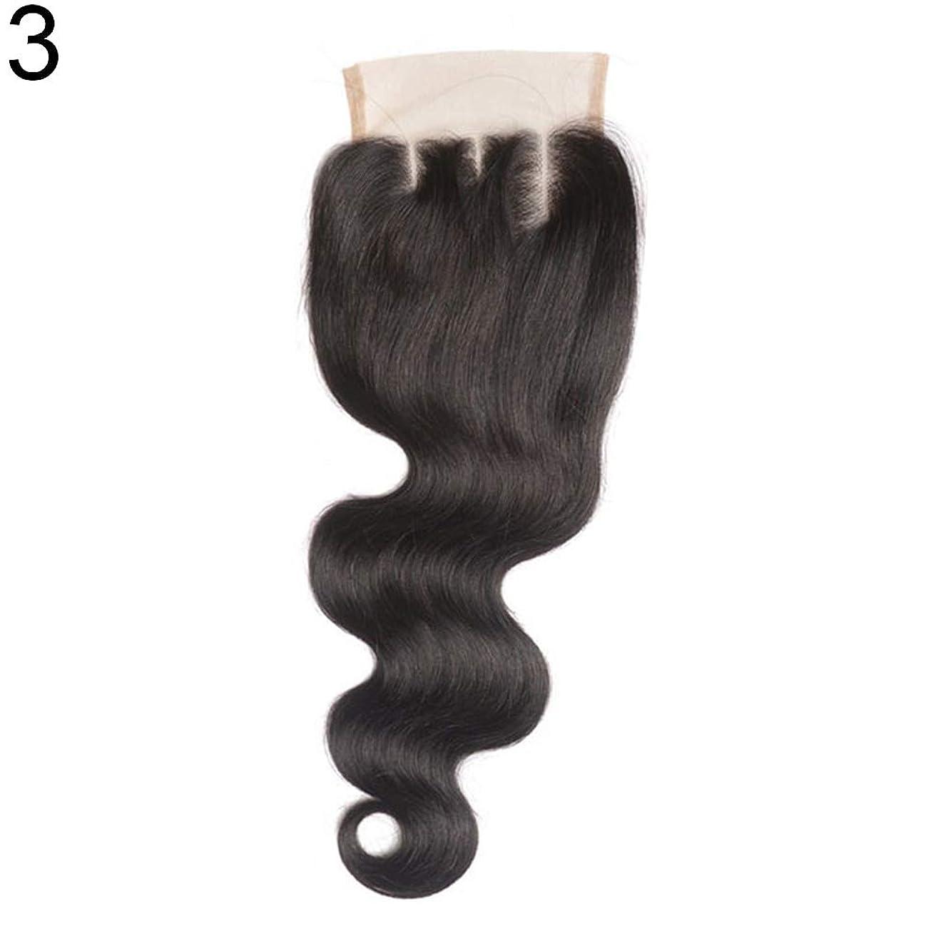 クリップ設計図三角slQinjiansav女性ウィッグ修理ツールブラジルのミドル/フリー/3部人間の髪のレース閉鎖ウィッグ黒ヘアピース