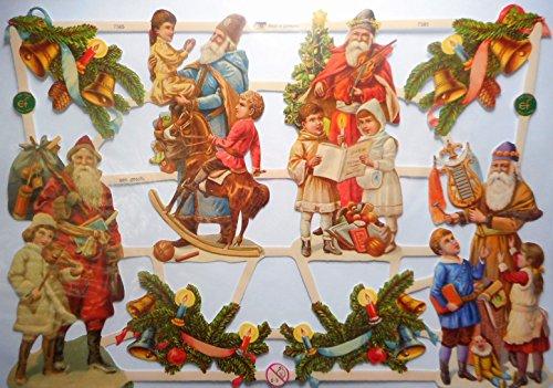 Weihnachten Weihnachtsmann EF 7385 Glanzbilder Oblate Posiebilder Scrapbook Deko GWI 446