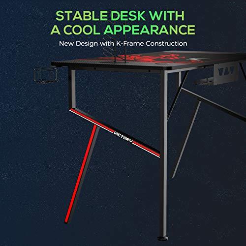 EUREKA ERGONOMIC Gaming Tisch K55 Gaming Schreibtisch Gaming Computertisch PC Schreibtisch mit Getränkehalter und Kopfhörerhalter 140 * 60 cm Schwarz 3