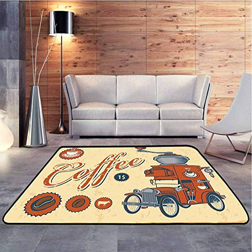 DESPKON-HOME Non Skid Rugs Artsy Commercial Design of Vintage Truck with Coffee Grinder in Old fashioned Color Fashionable and Affordable Rugs Easy Clean Stain Resistant Shed Free, 122x122 cm