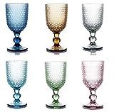 kedea Bicchieri Acqua Colorati in Vetro, Calici Vino Colorati in Vetro, Lavabili in lavastoviglie, Bicchieri e Calici in Pasta Colore Lavabili in Lavastoviglie, Pave', Mix 6 COLORAZIONI.