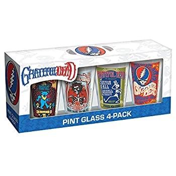 ICUP Grateful Dead Poster Pint Glass  4 Pack  Clear