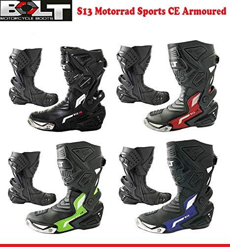 MOTORRADSTIEFEL Bolt S13 Motorrad Erwachsene Rennstiefel CE-gepr?fte R?Stung Sport Touren wasserdichte Fahrer-Hochleistungs-Schutzgleiter rutschfeste Lederstiefel, Allroundstiefel (Schwarz - EU 40)