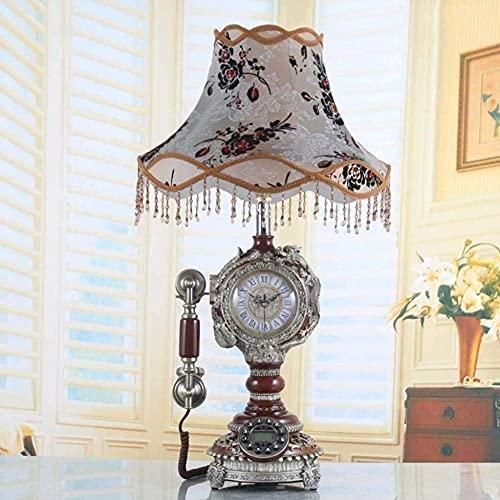 Sywlwxkq Hermoso teléfono de actualización, lámpara de Sala de Estar de Estilo Europeo Retro Teléfono Dormitorio Decoración de Noche Reloj Estudio Cubierta de Encaje de Tela Americana Lámpa