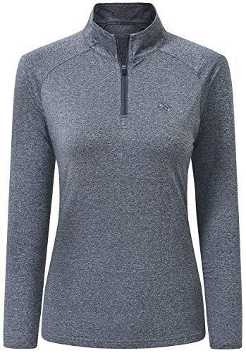 AjezMax - Camiseta de manga larga con cremallera de 1/4 para mujer, de secado rápido, para entrenamiento, deportes, activo, para mujer