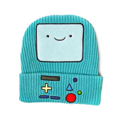 Adventure Time Beemo BMO Beanie Strick Mütze mit Stickerei für Cartoon-Fans türkis
