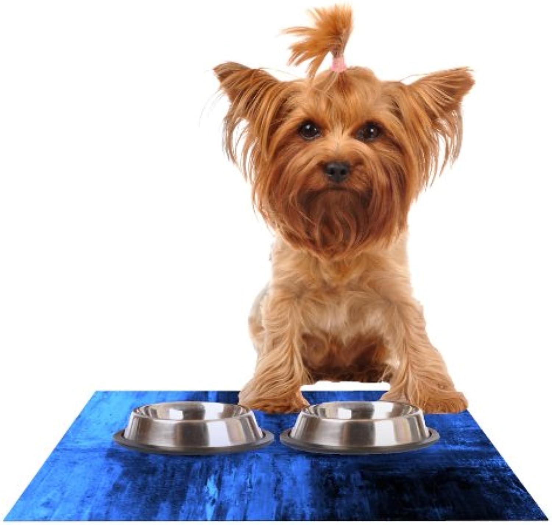 Kess InHouse CarolLynn Tice Deep Sea  bluee Feeding Mat for Pet Bowl, 18 by 13Inch