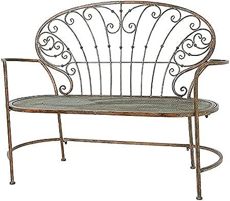 Banco al aire libre Banco de patio, muebles de porche delantero, mesa y silla retro de hierro forjado, silla doble de metal para balcón y jardín, respaldo hueco, reposabrazos simple, taburete dec