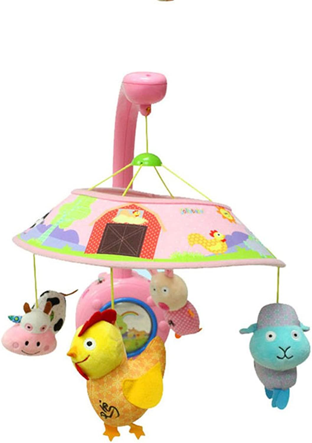 Amazemarket 03 Years Baby Rattle Music Box Toy Plush Animal Crib Mobile Holder Arm Stroller Pushchair Bed bell Spinning Early Learning Development Multifunctional Kids Gift (pink)