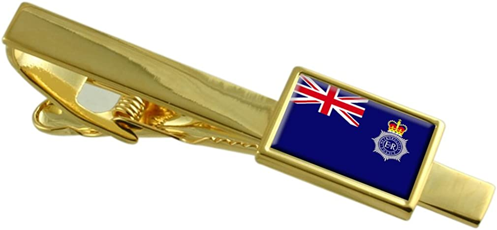 Police Military England Flag Gold-tone Tie Clip
