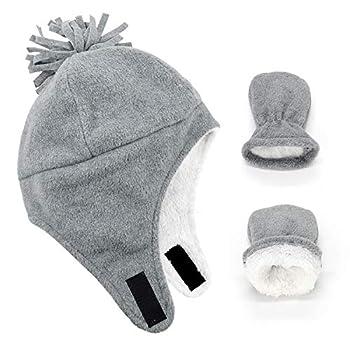 Century Star Baby Fleece Hat Warm Earflap Toddler Boys Winter Hat and Mitten Set 01 Light Grey L 2-4 Years