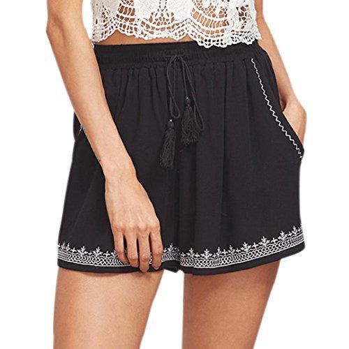Toamen Pantalon Femmes Pantalon de sport yoga Pantalon de course Impression Pantalon court Short taille haute Décontractée Chaud (M, Noir)