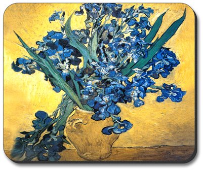 Van Gogh - Vase of Irises Mouse Pad - by Art Plates